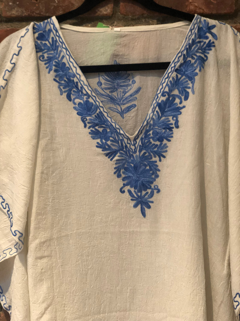 KS.04 CREAM  / BLUE Crushed Cotton Embroidered Kaftan Top / Cover up; Band size (40)