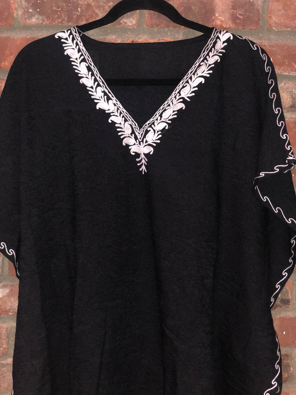 KS.42 BLACK / WHITE  SHORT CRUSHED COTTON KAFTAN FREE SIZE ET