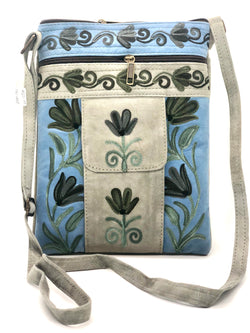 Suede Mobile Pocket Crossbody Embroidered Bag (H80)