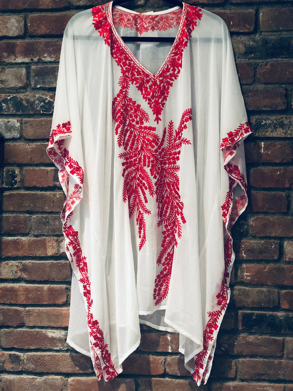 KC.11 White Red Fern embroidery sheer Kaftan / Cover up Midi ET