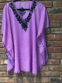 KS.31 Lavender Black Crushed Cotton Embroidered Kaftan Top Blouse / Cover up; Band Size 40