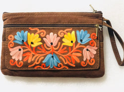 Suede Floral Embroidered Clutch Wristlet Purse with Flap (H51)