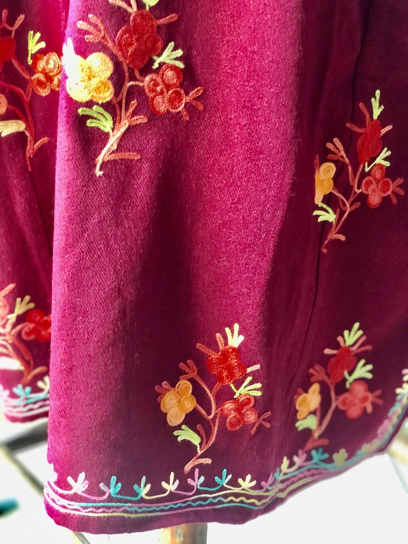 BURGUNDY CASHMILON (NON WOOL) WARM KASHMIRI PHIREN/TUNIC DRESS (PH4.01)