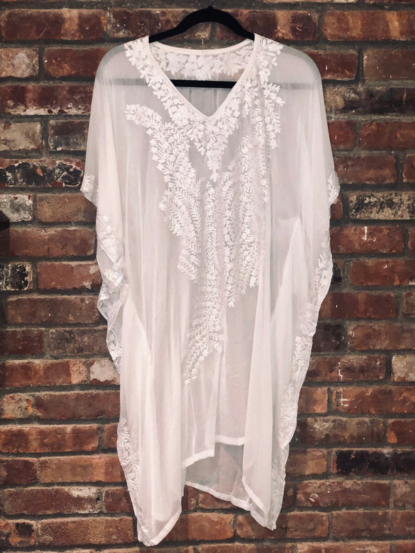 KC.05 White White  Red Fern embroidery sheer Kaftan / Cover up Midi