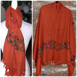 Orange Floral Embroidered Medium Weight Warm Stole~Wrap~Shawl