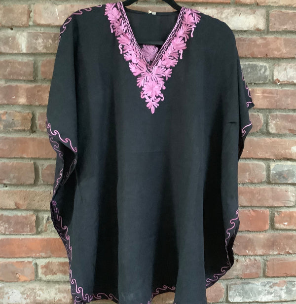 KS.13 BLACK / ROSE PINK SHORT CRUSHED COTTON KAFTAN 46""