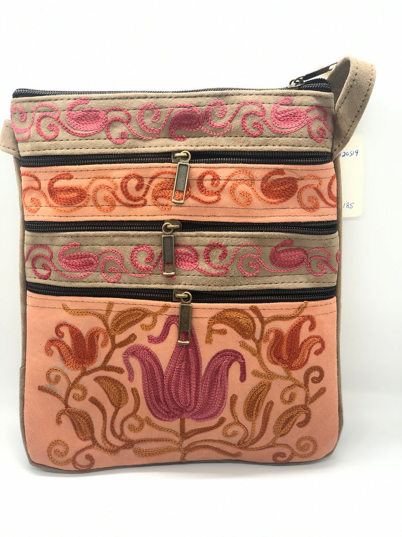 Kashi Collection: 5 Zip Crossbody Embroidered Travel/ Casual Handbag  10 x 8 (H4)