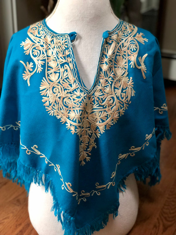 Turquoise Short Warm Embroidered Poncho (P2.01)