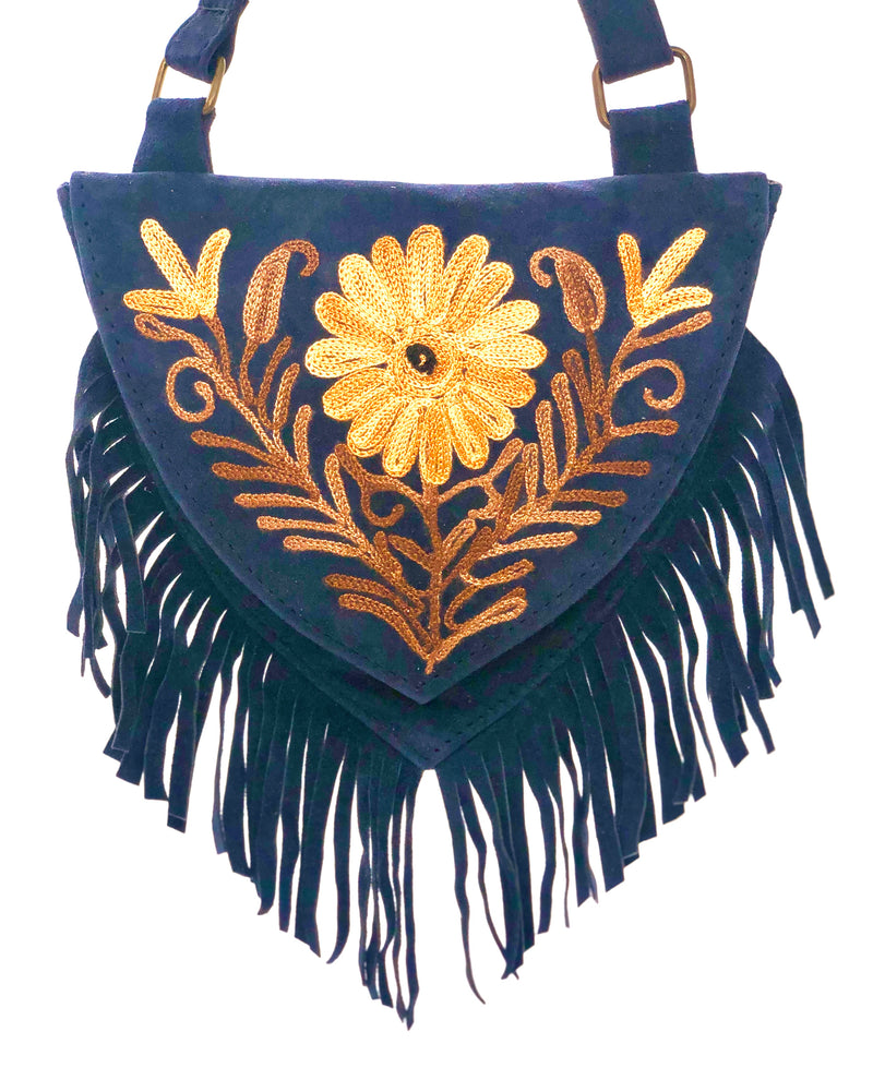 Genuine Suede Sweetheart Fringe Crossbody Bag 7 x 7 (H5)