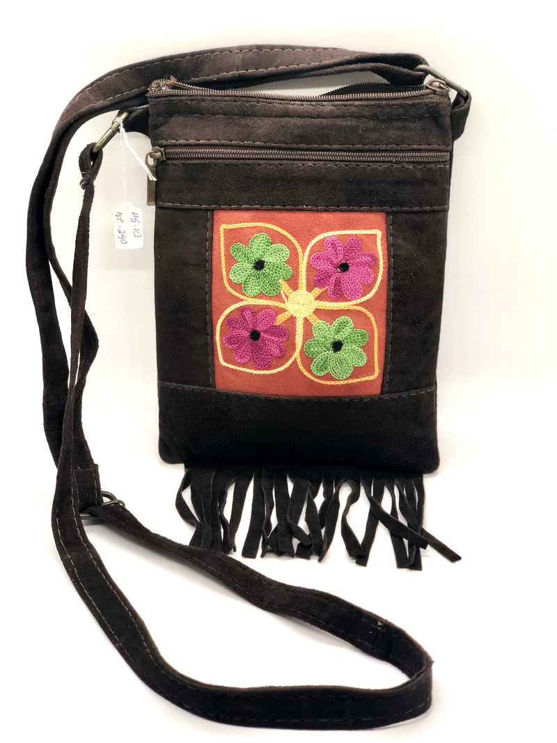 Suede Floral Embroidered Fringe Cellphone/ Mobile Crossbody Bag  7 x 5 (HM)