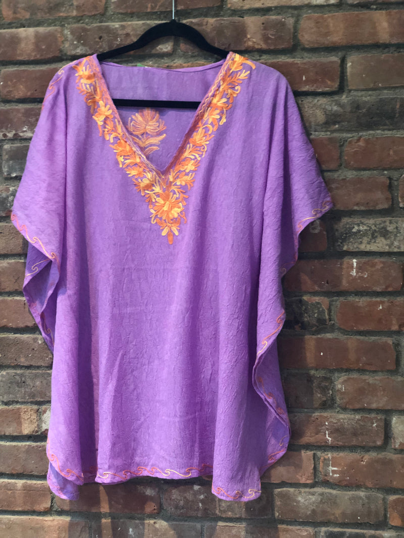 KS.23 Lavender Gold Crushed Cotton Embroidered Kaftan Top / Cover up; Band size (40)