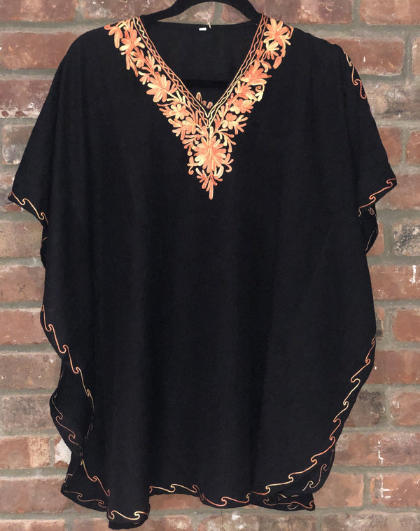 KS.01 Black Orange Gold Crushed Cotton Embroidered Kaftan Top US Size L(40)