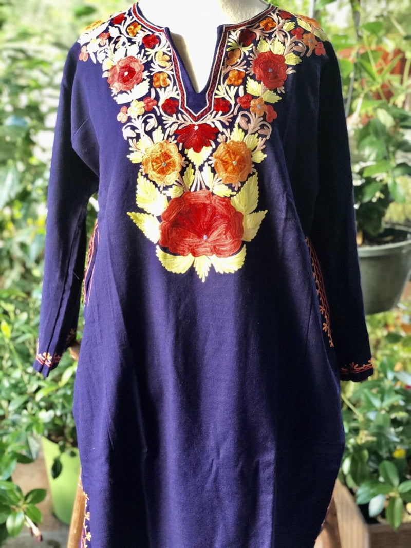 BLUE CASHMILON (NON WOOL) WARM KASHMIRI PHIREN/TUNIC DRESS (PH3.01)
