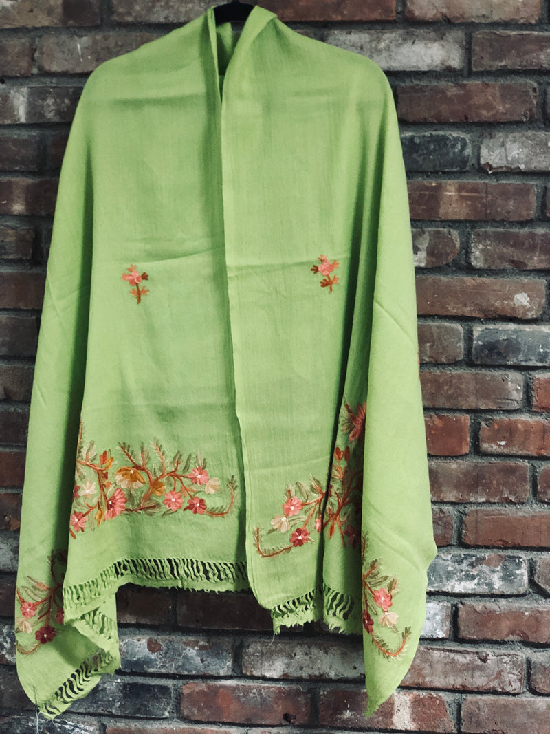 Lime Green Floral Embroidered Medium Weight Warm Stole~Wrap~Shawl