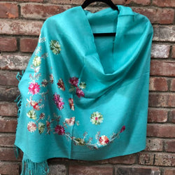 SP.04 Cyan Blue Embroidered Romantic Semi-Pashmina Stole