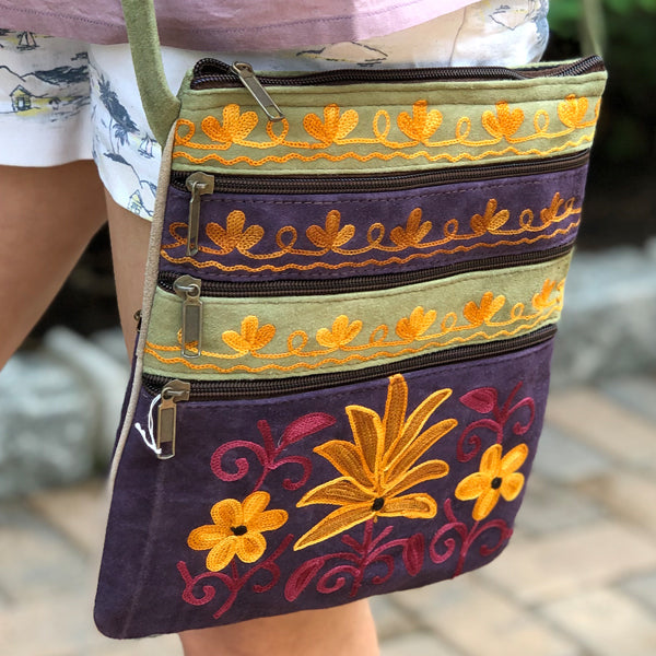 Boho Suede Crossbody Embroidered Travel/ Casual Handbag  5 Zip S (H4)