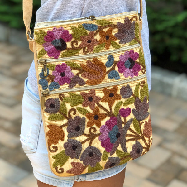 Velvet Floral Embroidered Travel / Casual Crossbody Handbag (H15)