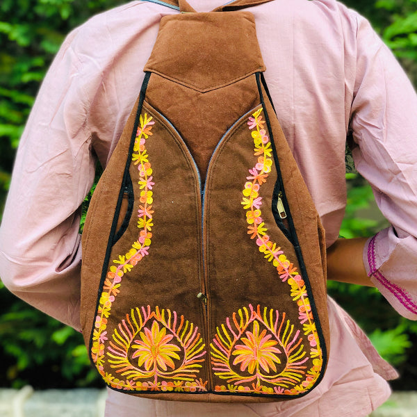 Tan Guitar Shaped Genuine Suede Bohemain Embroidered Backpack (Collection 5)