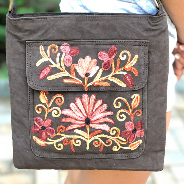 Suede Embroidered Crossbody Flap Cover Shoulder Handbag (H31)