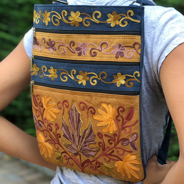 Floral Boho-Style Suede Embroidered Slim Backpack (H16)
