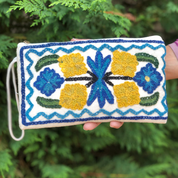 Embroidered Canvas Clutch Bag (H24)