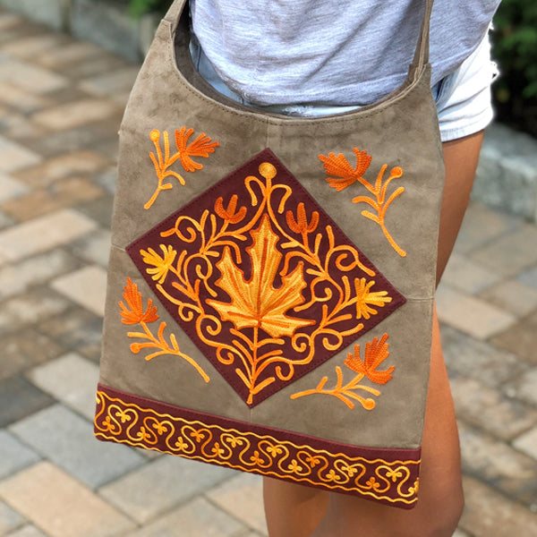 Genuine Suede Crossbody Embroidered Bags (Lama Collection H9)