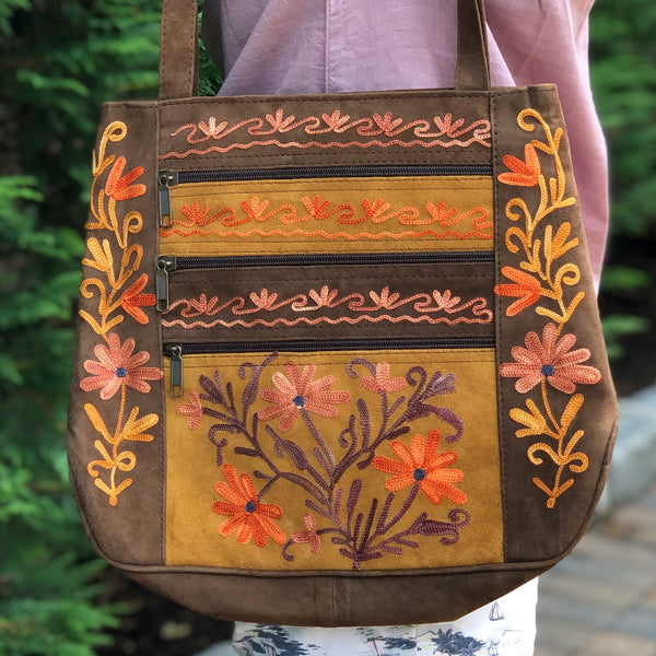 Genuine Suede Embroidered Shoulder/ Tote Terenam HandBag (H21)