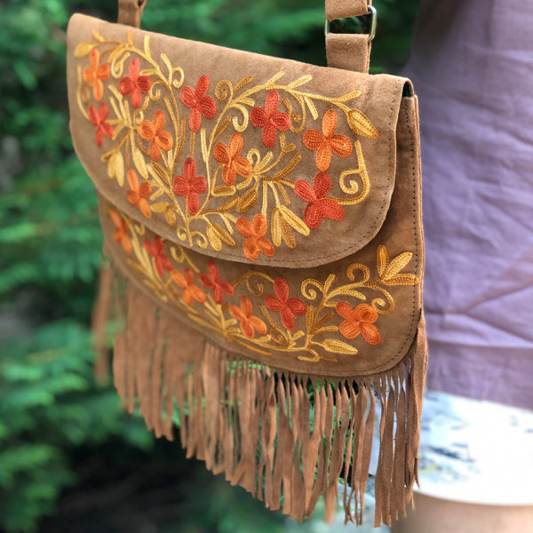 Boho-Style Fringe Suede Embroidered Crossbody Bag ( H13)