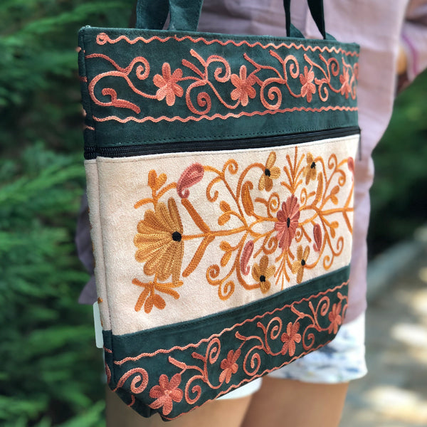 Boho-Chic Embroidered Suede Shoulder / Messenger Handbag Zani L(H19)