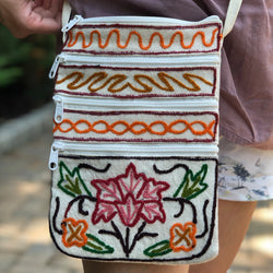 Crewel Embroidered Canvas Crossbody Embroidered Bag  (H15.8)
