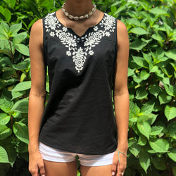 100% Cotton Black White Sleeveless Lightweight & Breathable Embroidered Tunic Top by kashmirvalley.com Kashmir Valley