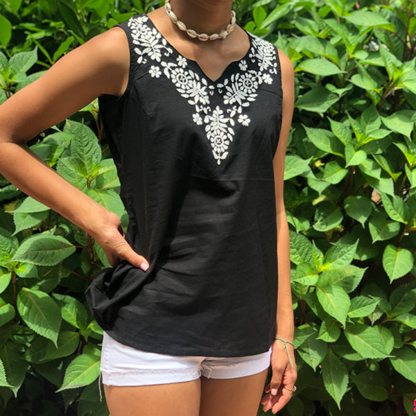 100% Cotton Black  & White Embroidered Tunic~Top  (PAT 1)
