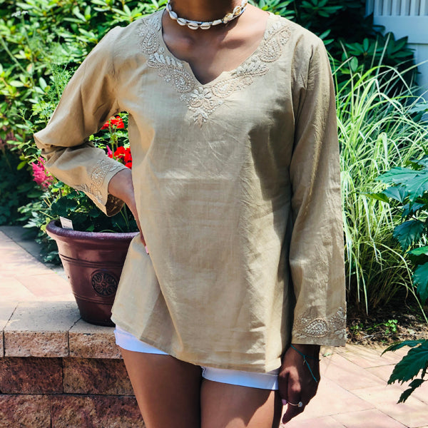 100% Cotton Neutral Beige Lightweight & Breathable Bohemian Embroidered Tunic Top by kashmir Valley kashmirvalley.com