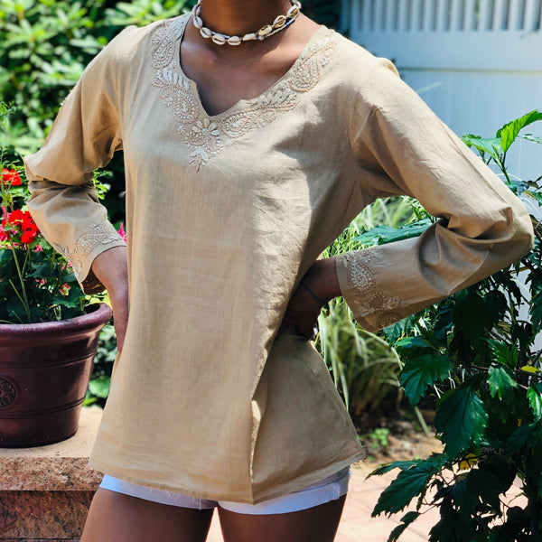 Bohemian 100% Cotton Neutral Beige Cotton Top~Blouse~Tunic (T15, PAT2)