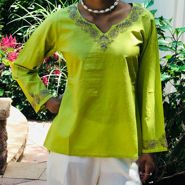 100% Cotton Green Bohemian Lightweight & Breathable Embroidered Tunic Top by kashmir Valley kashmirvalley.com