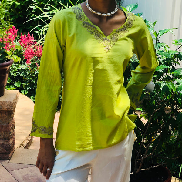 Bohemian Lime Green Embroidered Cotton Top~Blouse~Tunic (T4, PAT2)