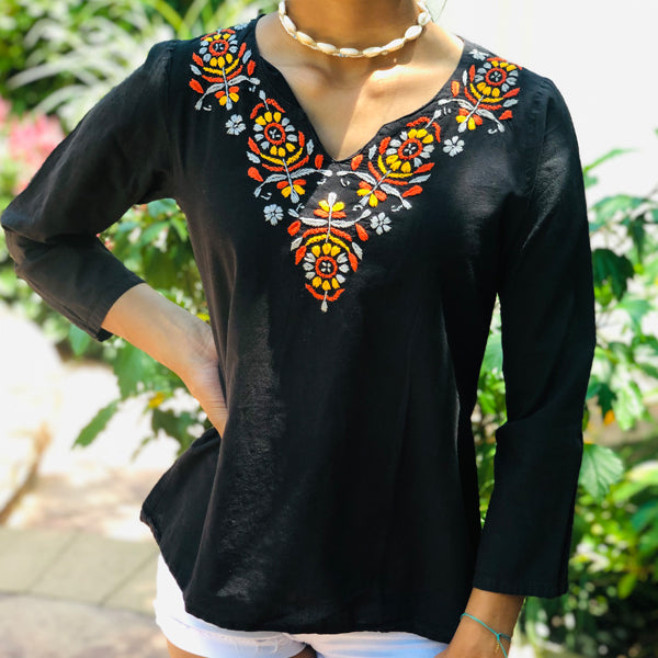 Cotton Black Top With Floral Embroidery (T28, PAT1)