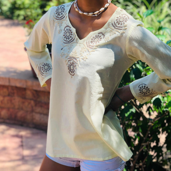 100% Cotton Yellow & Beige Embroidered Breathable Cotton Tunic~Top~Blouse (T11, PAT 1)