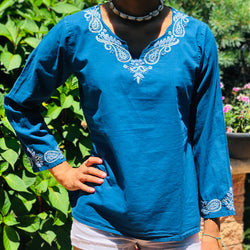 100% Cotton Blue Lightweight & Breathable Bohemian Embroidered Tunic Top by kashmir Valley kashmirvalley.com