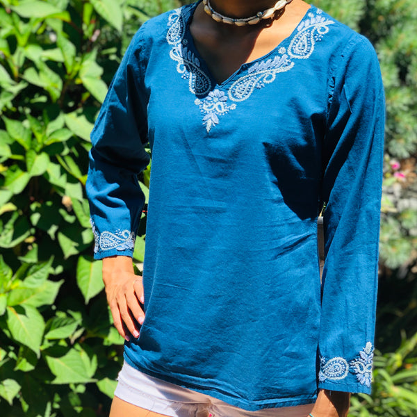 100% Pure Cotton Steel Blue Embroidered Cotton Tunic Top~Blouse