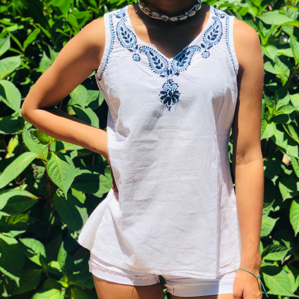 White Top With Sky Blue & Navy Blue Embroidery (PAT 2)