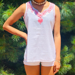 100% Cotton White Pink Sleeveless Lightweight & Breathable Embroidered Tunic Top by kashmirvalley.com Kashmir Valley
