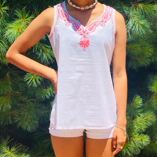 White SL Top With Pink Embroidery