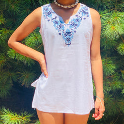 100% Cotton White Blue Sleeveless  Lightweight & Breathable Embroidered Tunic Top by kashmirvalley.com Kashmir valley