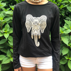 Black Cotton T-shirt With Elephant Embroidery (KT2)