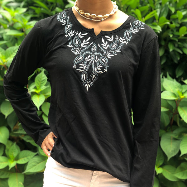 Black Cotton Knit T-shirt (KT1)