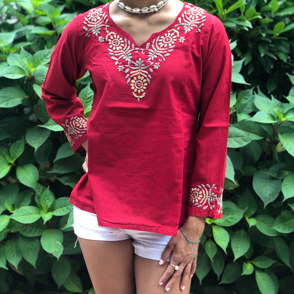 100% Pure Cotton Red Bohemian Lightweight & Breathable Embroidered Tunic Blouse Top  Kurti by kashmirvalley.com; kashmir valley