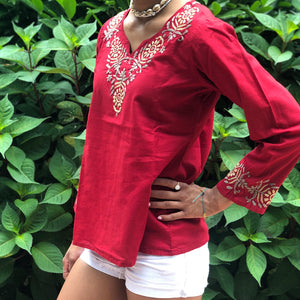 Bohemian Red Embroidered Cotton Blouse~Boho Shirt Floral Tunic Top (T8, PAT1)