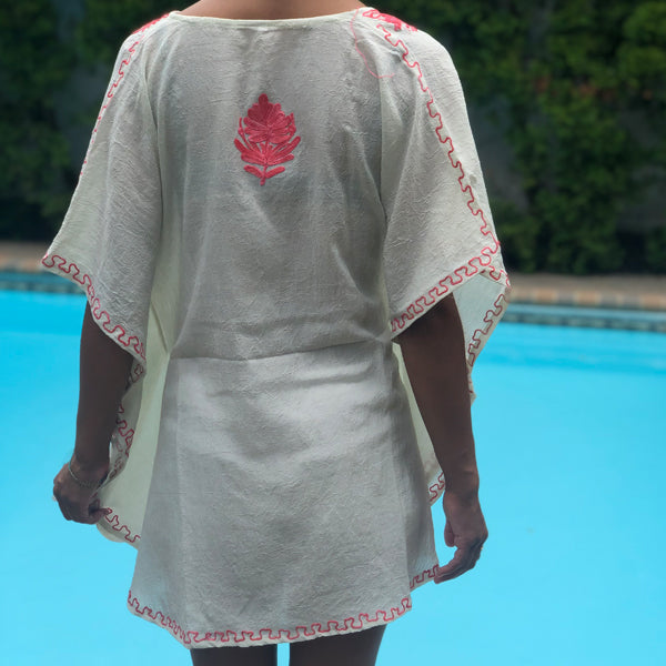 White Kaftan With Pink Embroidery