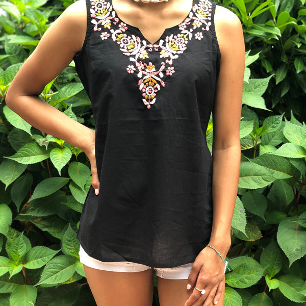 Black Top With Light Pink, Dark Pink & Brown Embroidery